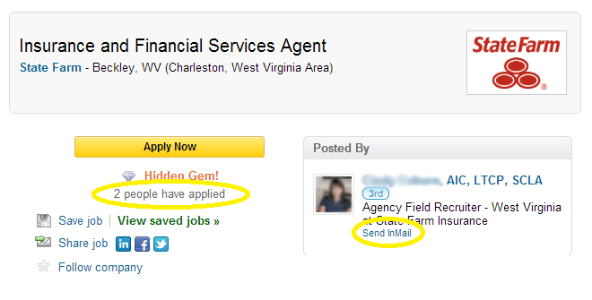 Click on the Inmail in LinkedIn to directly contact a recruiter